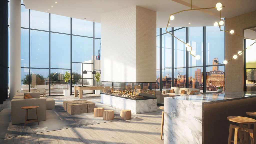 A rendering for a common lounge area at the Northern Boulevard project in Long Island City, Queens